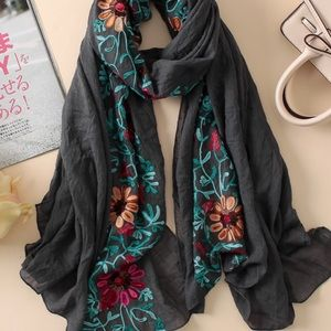 Soft cotton embroidered scarf wrap shawl charcoal